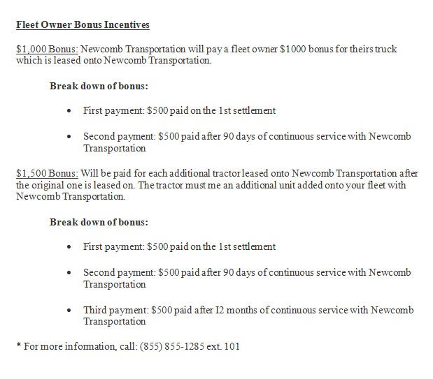 Newcomb Truck Lease Purchase Program. Otr Owner Operator Cdl Truck